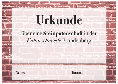 Urkunde-Steinpatenschaft